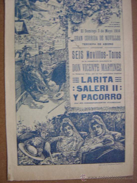 Carteles Toros: CARTEL DE TOROS PLAZA DE VALENCIA 03 DE MAYO 1914 - Foto 3 - 36807624