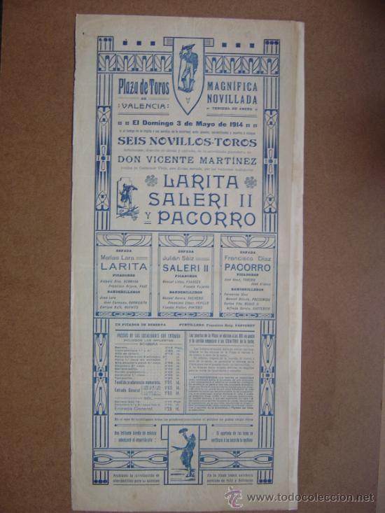 Carteles Toros: CARTEL DE TOROS PLAZA DE VALENCIA 03 DE MAYO 1914 - Foto 4 - 36807624