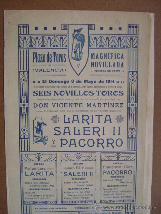 Carteles Toros: CARTEL DE TOROS PLAZA DE VALENCIA 03 DE MAYO 1914 - Foto 5 - 36807624
