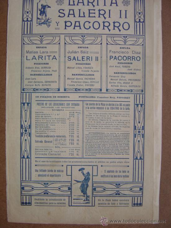 Carteles Toros: CARTEL DE TOROS PLAZA DE VALENCIA 03 DE MAYO 1914 - Foto 6 - 36807624