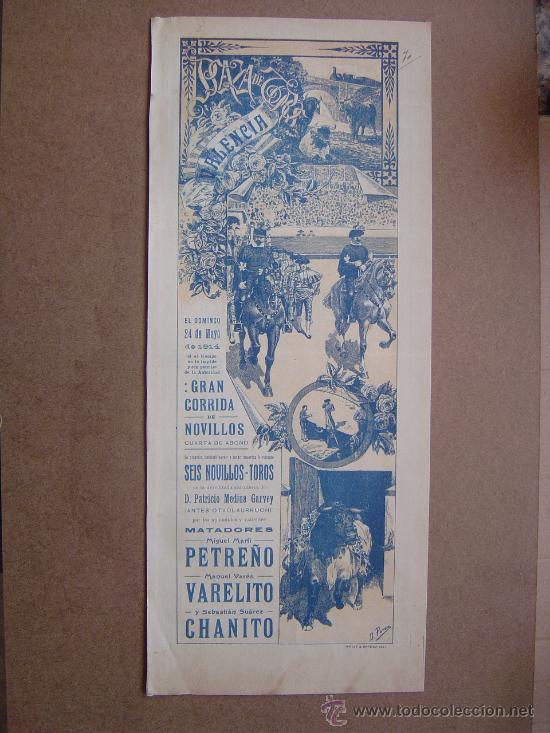 CARTEL DE TOROS PLAZA DE VALENCIA 24 DE MAYO 1914 (Coleccionismo - Carteles Gran Formato - Carteles Toros)