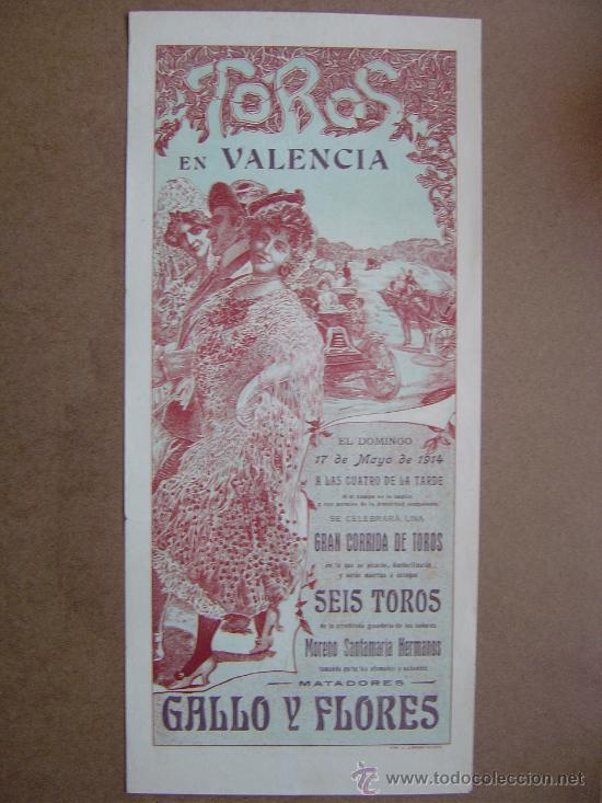 CARTEL DE TOROS PLAZA DE VALENCIA 17 DE MAYO 1914 (Coleccionismo - Carteles Gran Formato - Carteles Toros)
