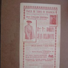 Carteles Toros: CARTEL DE TOROS PLAZA DE VALENCIA 25 DE OCTUBRE1914 . Lote 36808652