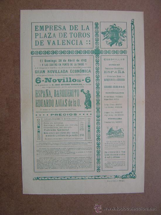 CARTEL DE TOROS PLAZA DE VALENCIA 28 DE ABRIL1912 (Coleccionismo - Carteles Gran Formato - Carteles Toros)