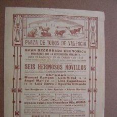 Carteles Toros: CARTEL DE TOROS PLAZA DE VALENCIA 19 DE OCTUBRE 1913. Lote 36810525