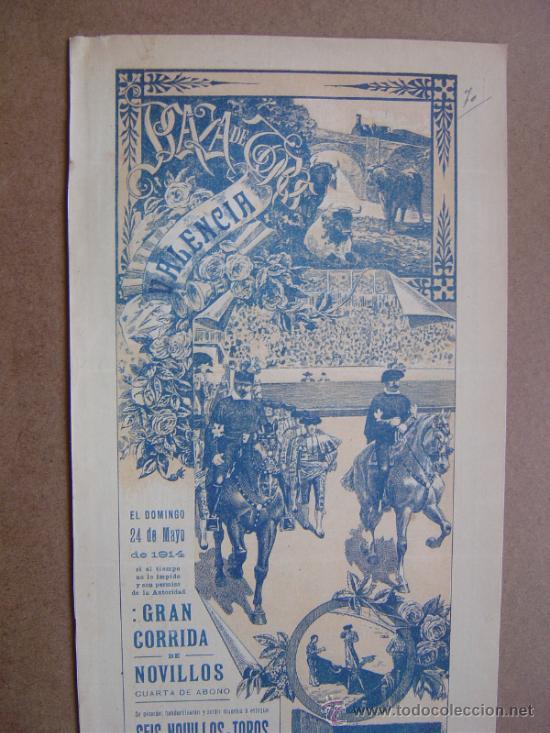 Carteles Toros: CARTEL DE TOROS PLAZA DE VALENCIA 24 DE MAYO 1914 - Foto 2 - 36808296
