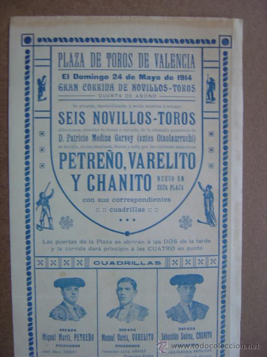 Carteles Toros: CARTEL DE TOROS PLAZA DE VALENCIA 24 DE MAYO 1914 - Foto 5 - 36808296