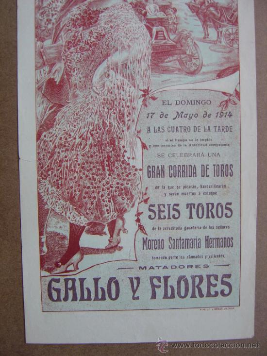 Carteles Toros: CARTEL DE TOROS PLAZA DE VALENCIA 17 DE MAYO 1914 - Foto 4 - 36808632