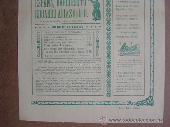 Carteles Toros: CARTEL DE TOROS PLAZA DE VALENCIA 28 DE ABRIL1912 - Foto 3 - 36809143