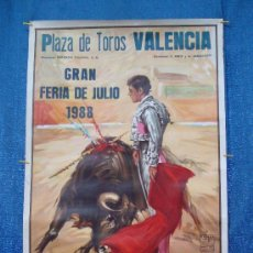 Carteles Toros: POSTER, CARTEL TAURINO FERIA DE JULIO 1988 VALENCIA, ORIGINAL, DISEÑO MARTI FONT, 1050MM X 540MM. Lote 36911755