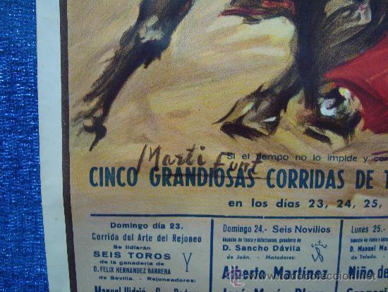 Carteles Toros: POSTER, CARTEL TAURINO FERIA DE JULIO 1988 VALENCIA, ORIGINAL, DISEÑO MARTI FONT, 1050mm X 540mm - Foto 3 - 36911755