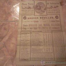 Carteles Toros: PLAZA DE TOROS DE VALENCIA. CARTEL DE CORRIDA DE 1942. Lote 37098389