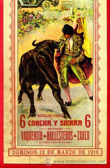 Carteles Toros: CARTEL TOROS, PLAZA VALENCIA , 1916 , COLOR , ORIGINAL ,Y156 - Foto 2 - 37158528