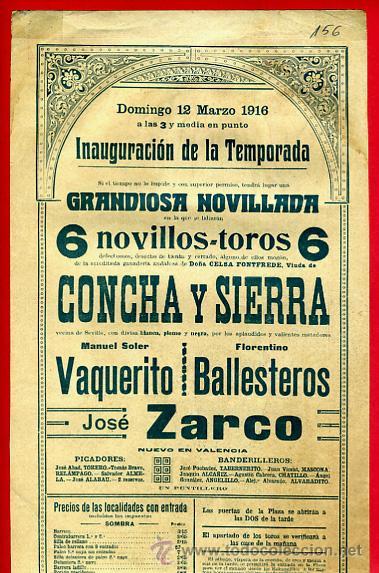 Carteles Toros: CARTEL TOROS, PLAZA VALENCIA , 1916 , COLOR , ORIGINAL ,Y156 - Foto 3 - 37158528