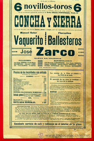 Carteles Toros: CARTEL TOROS, PLAZA VALENCIA , 1916 , COLOR , ORIGINAL ,Y156 - Foto 4 - 37158528