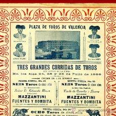 Carteles Toros: CARTEL TOROS, PLAZA VALENCIA , SIGLO XIX , MAZZANTINI , 1898 , ORIGINAL ,Y150. Lote 118263523