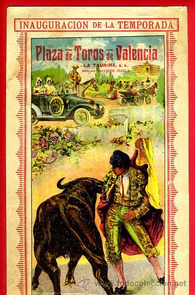 CARTEL TOROS, PLAZA VALENCIA , 1916 , COLOR , ORIGINAL ,Y156 (Coleccionismo - Carteles Gran Formato - Carteles Toros)
