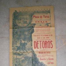 Carteles Toros: ANTIGUO CARTEL DE TOROS - FERIA DE ECIJA - 1910 - GALLITO Y MACHAQUITO. Lote 37258334