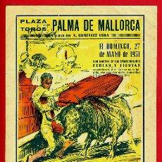 Carteles Toros: CARTEL TOROS, PLAZA PALMA MALLORCA , 1951 , ORIGINAL , Y1. Lote 37513594