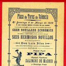 Carteles Toros: CARTEL TOROS, PLAZA VALENCIA , 1908 , ORIGINAL , Y302. Lote 37513675