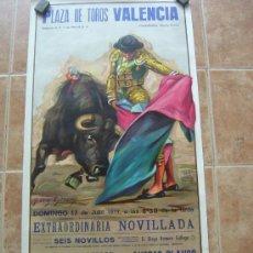 Carteles Toros: PLAZA DE TOROS VALENCIA 1977 - LITOGRAFIA - ILUSTRADOR: CROS ESTREMS. Lote 37665371