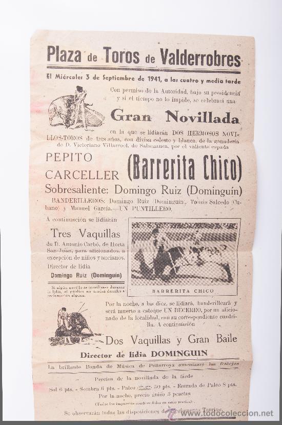 CARTEL PLAZA DE TOROS DE VALDERROBRES, AÑO 1941 (Coleccionismo - Carteles Gran Formato - Carteles Toros)