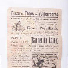 Carteles Toros: CARTEL PLAZA DE TOROS DE VALDERROBRES, AÑO 1941. Lote 37723585