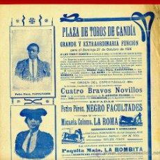 Carteles Toros: CARTEL TOROS, PLAZA GANDIA 1906 , VALENCIA, FACULTADES LA ROMA LA BOBITA ,ORIGINAL, Y504. Lote 37732057