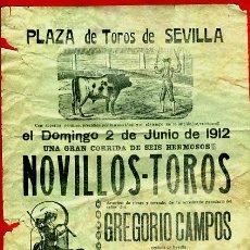 Carteles Toros: CARTEL TOROS, PLAZA SEVILLA 1912 , VAZQUEZ II, CELITA EL MARCHENERO , ORIGINAL,Y1. Lote 37752525