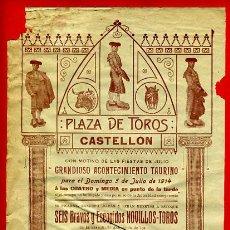 Carteles Toros: CARTEL TOROS, PLAZA CASTELLON 1914 , CAPAO CORTIJAJO FUENTES , ORIGINAL,Y4. Lote 37752613