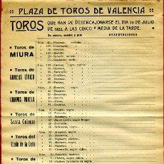 Carteles Toros: CARTEL TOROS, PLAZA VALENCIA FERIA 1922 FERIA , DESENCAJONADA RELACION TOROS , ORIGINAL, Y25. Lote 37835389