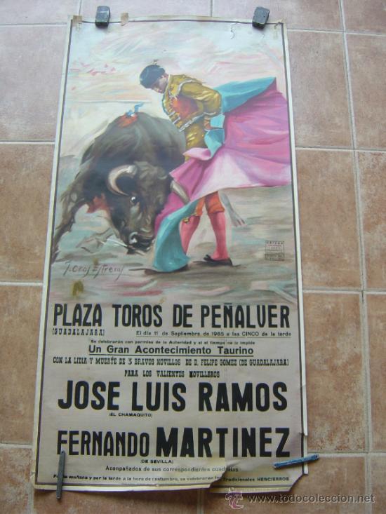 PLAZA DE TOROS DE PEÑALVER (GUADALAJARA) 1985 LITOGRAFIA- ILUSTRADOR: CROS ESTREMS (Coleccionismo - Carteles Gran Formato - Carteles Toros)