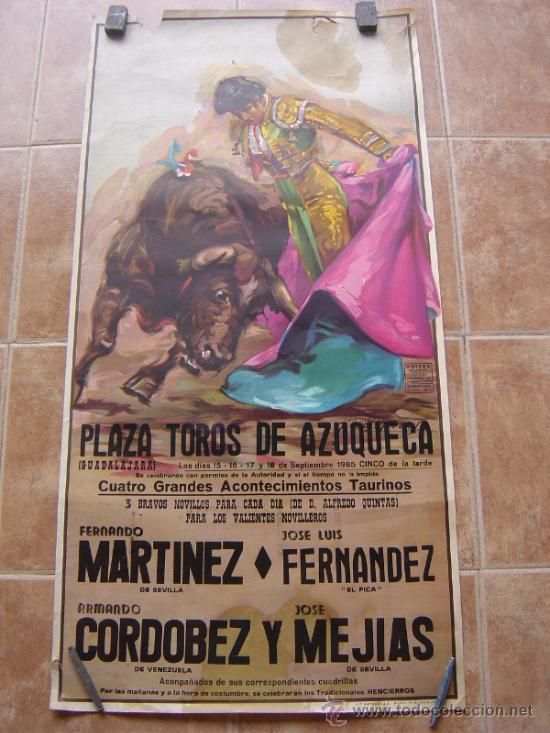 PLAZA DE TOROS DE AZUQUECA (GUADALAJARA) 1985 LITOGRAFIA- ILUSTRADOR: CROS ESTREMS (Coleccionismo - Carteles Gran Formato - Carteles Toros)