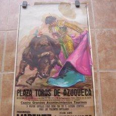 Carteles Toros: PLAZA DE TOROS DE AZUQUECA (GUADALAJARA) 1985 LITOGRAFIA- ILUSTRADOR: CROS ESTREMS. Lote 108867343