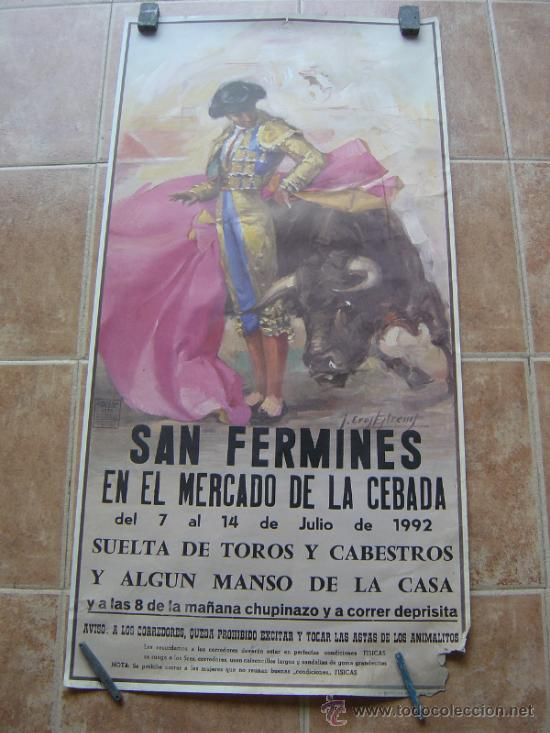 SAN FERMINES 1992 LITOGRAFIA- ILUSTRADOR: CROS ESTREMS (Coleccionismo - Carteles Gran Formato - Carteles Toros)