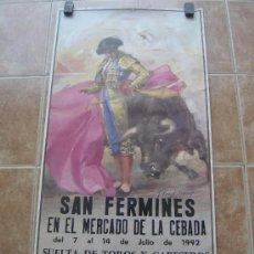 Carteles Toros: SAN FERMINES 1992 LITOGRAFIA- ILUSTRADOR: CROS ESTREMS. Lote 122071628