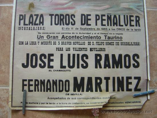 Carteles Toros: PLAZA DE TOROS DE PEÑALVER (GUADALAJARA) 1985 LITOGRAFIA- ILUSTRADOR: CROS ESTREMS - Foto 2 - 37757940