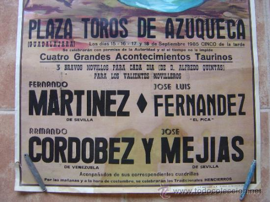Carteles Toros: PLAZA DE TOROS DE AZUQUECA (GUADALAJARA) 1985 LITOGRAFIA- ILUSTRADOR: CROS ESTREMS - Foto 2 - 108867343