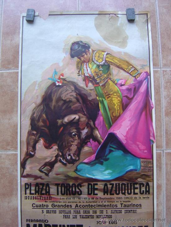 Carteles Toros: PLAZA DE TOROS DE AZUQUECA (GUADALAJARA) 1985 LITOGRAFIA- ILUSTRADOR: CROS ESTREMS - Foto 3 - 108867343