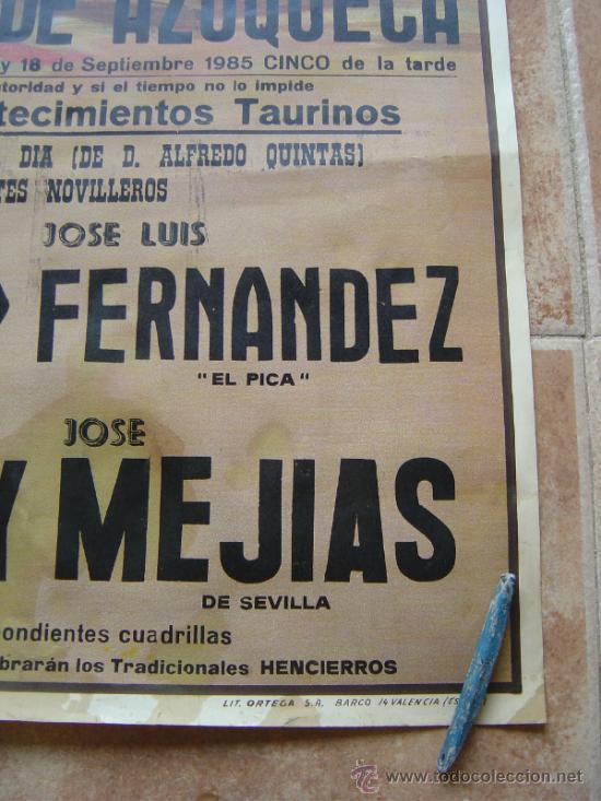 Carteles Toros: PLAZA DE TOROS DE AZUQUECA (GUADALAJARA) 1985 LITOGRAFIA- ILUSTRADOR: CROS ESTREMS - Foto 7 - 108867343