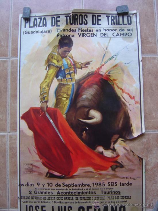 Carteles Toros: PLAZA DE TOROS DE TRUJILLO (GUADALAJARA) 1985 LITOGRAFIA- ILUSTRADOR: J.REUS - Foto 3 - 37758094