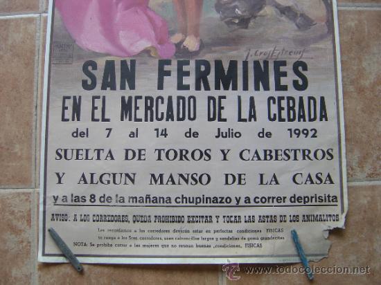 Carteles Toros: SAN FERMINES 1992 LITOGRAFIA- ILUSTRADOR: CROS ESTREMS - Foto 2 - 122071628
