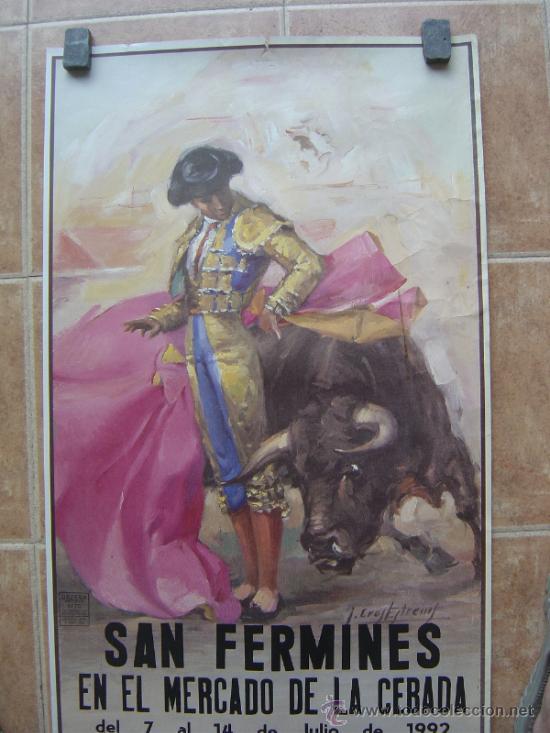 Carteles Toros: SAN FERMINES 1992 LITOGRAFIA- ILUSTRADOR: CROS ESTREMS - Foto 3 - 122071628