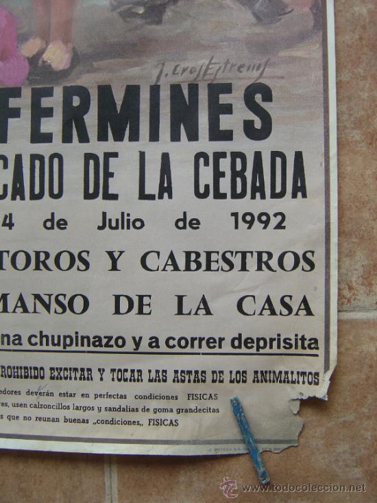 Carteles Toros: SAN FERMINES 1992 LITOGRAFIA- ILUSTRADOR: CROS ESTREMS - Foto 6 - 122071628
