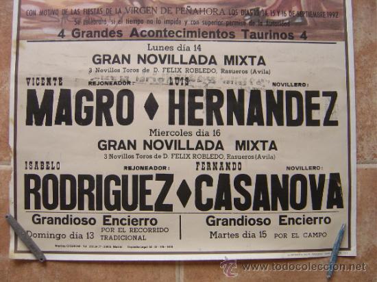 Carteles Toros: PLAZA DE TOROS DE HUMANES (GUADALAJARA) 1992 LITOGRAFIA- ILUSTRADOR: SAGUSTY - Foto 2 - 37758192