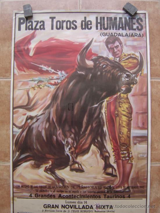 Carteles Toros: PLAZA DE TOROS DE HUMANES (GUADALAJARA) 1992 LITOGRAFIA- ILUSTRADOR: SAGUSTY - Foto 3 - 37758192