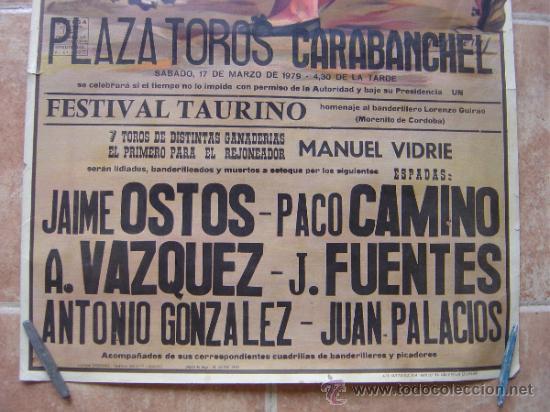 Carteles Toros: PLAZA DE TOROS DE CARABANCHEL -17 DE MARZO 1979 LITOGRAFIA- ILUSTRADOR: CROS ESTREMS - Foto 2 - 37759415