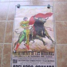 Carteles Toros: PLAZA DE TOROS DE ALBALATE DE LAS NOGUERAS 1992 - LITOGRAFIA - ILUSTRADOR: LOPEZ CANITO. Lote 37773709