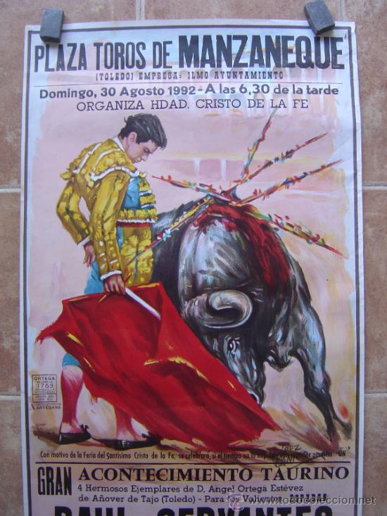 Carteles Toros: PLAZA DE TOROS DE MANZANEQUE 1992 - LITOGRAFIA - ILUSTRADOR: LOPEZ CANITO - Foto 3 - 37773799