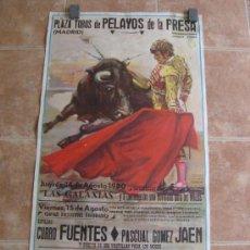 Carteles Toros: PLAZA DE TOROS DE PELAYOS DE LA PRESA(MADRID) 1980 LITOGRAFIA - ILUSTRADOR: CROS ESTREMS. Lote 37790549